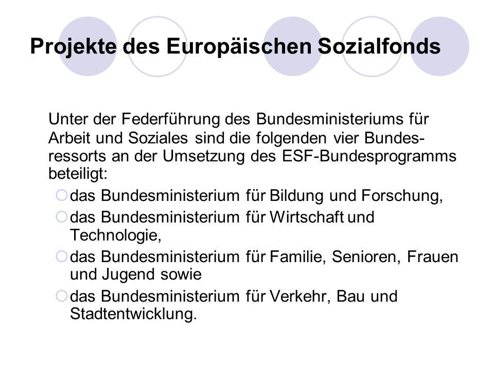 Projekte des Europäischen Sozialfonds