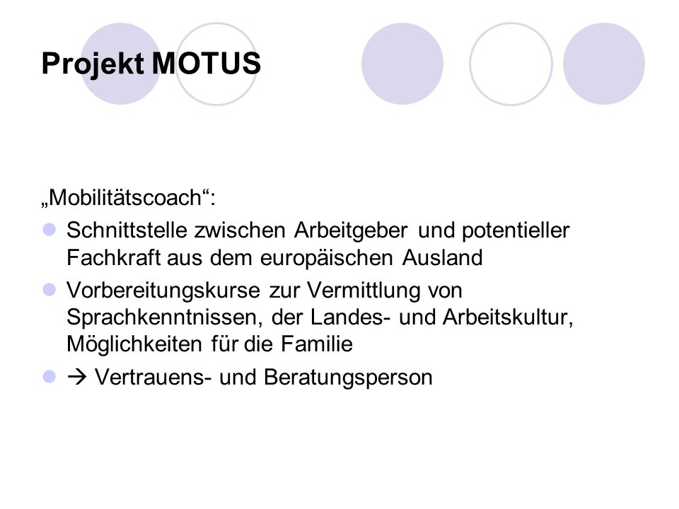 "Projekt MOTUS ""Mobilitätscoach :"