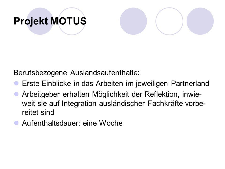 Projekt MOTUS Berufsbezogene Auslandsaufenthalte: