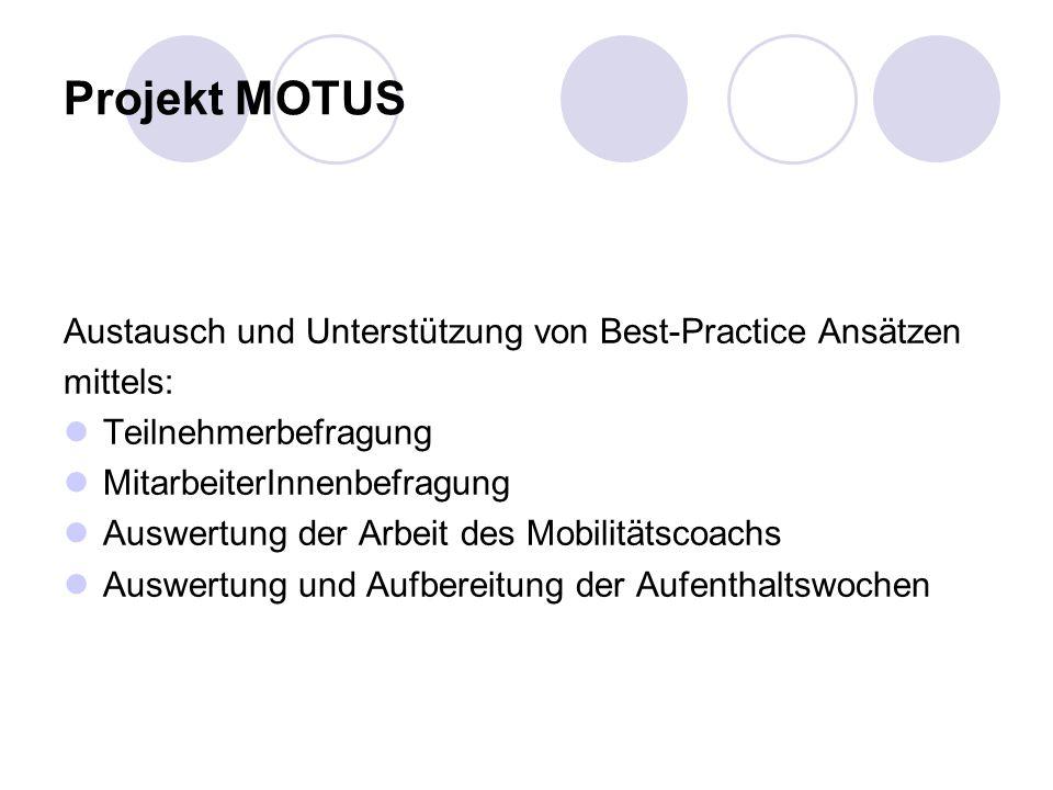 Projekt MOTUS Austausch und Unterstützung von Best-Practice Ansätzen
