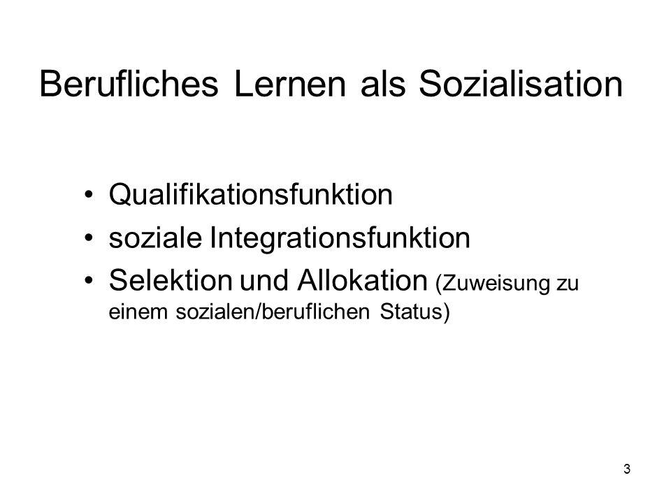 Berufliches Lernen als Sozialisation
