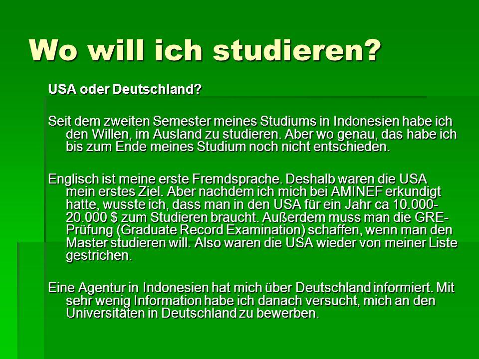 Wo will ich studieren USA oder Deutschland
