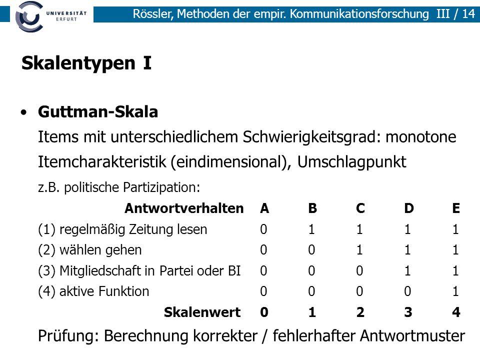 Skalentypen I Guttman-Skala Items mit unterschiedlichem Schwierigkeitsgrad: monotone Itemcharakteristik (eindimensional), Umschlagpunkt.