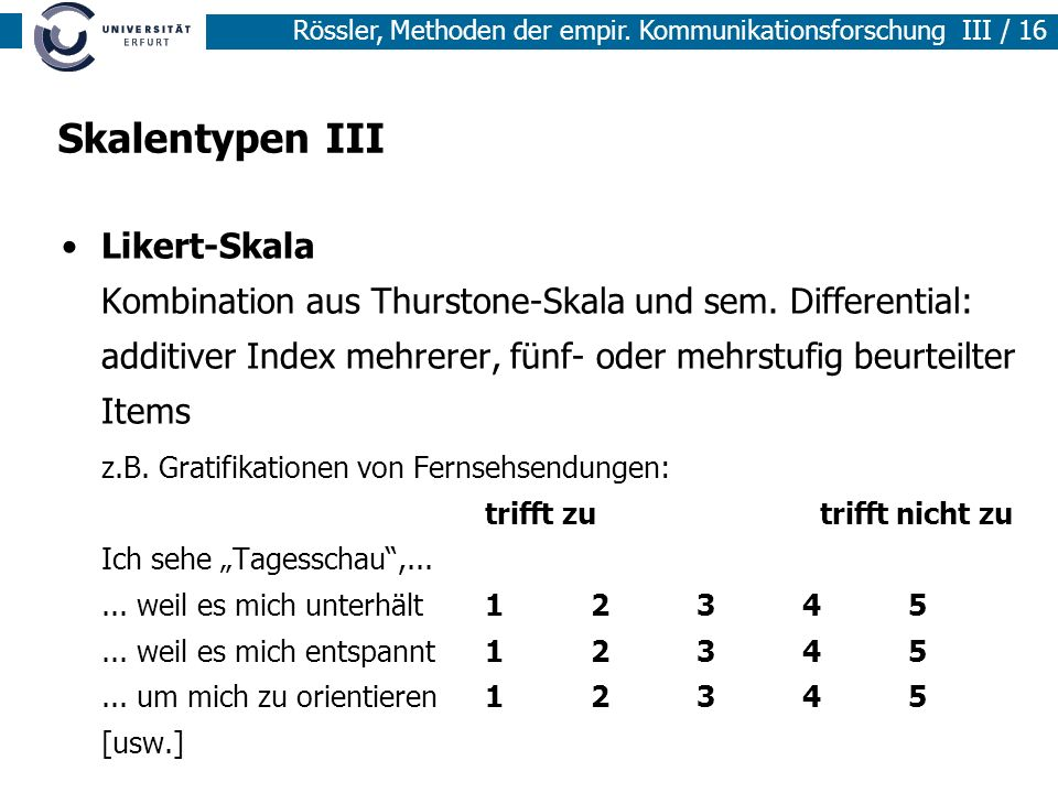 Skalentypen III Likert-Skala Kombination aus Thurstone-Skala und sem. Differential: additiver Index mehrerer, fünf- oder mehrstufig beurteilter Items.
