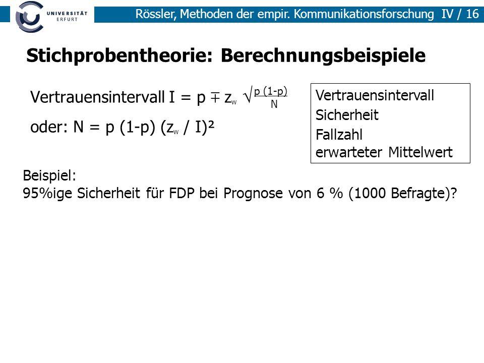 Stichprobentheorie: Berechnungsbeispiele