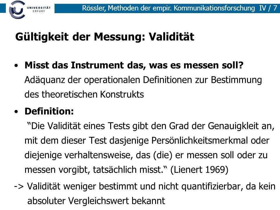 Gültigkeit der Messung: Validität