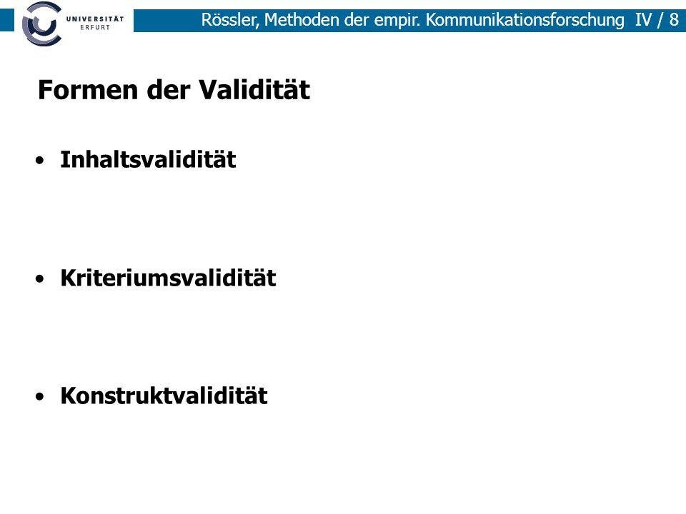 Formen der Validität Inhaltsvalidität Kriteriumsvalidität