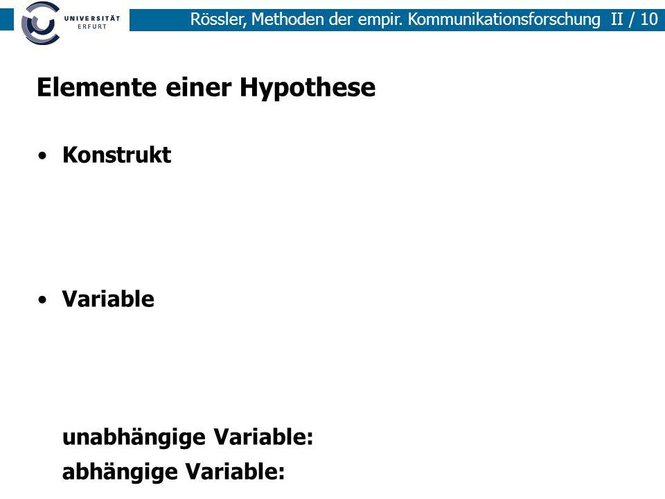Elemente einer Hypothese