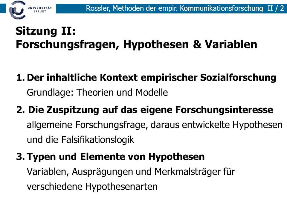 Sitzung II: Forschungsfragen, Hypothesen & Variablen