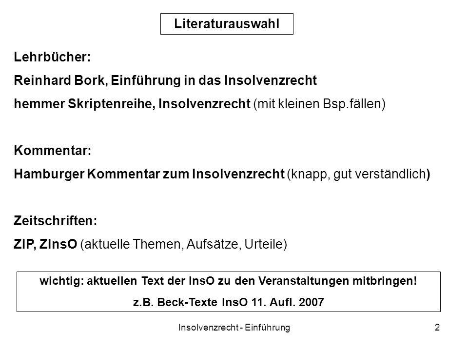 Reinhard Bork, Einführung in das Insolvenzrecht