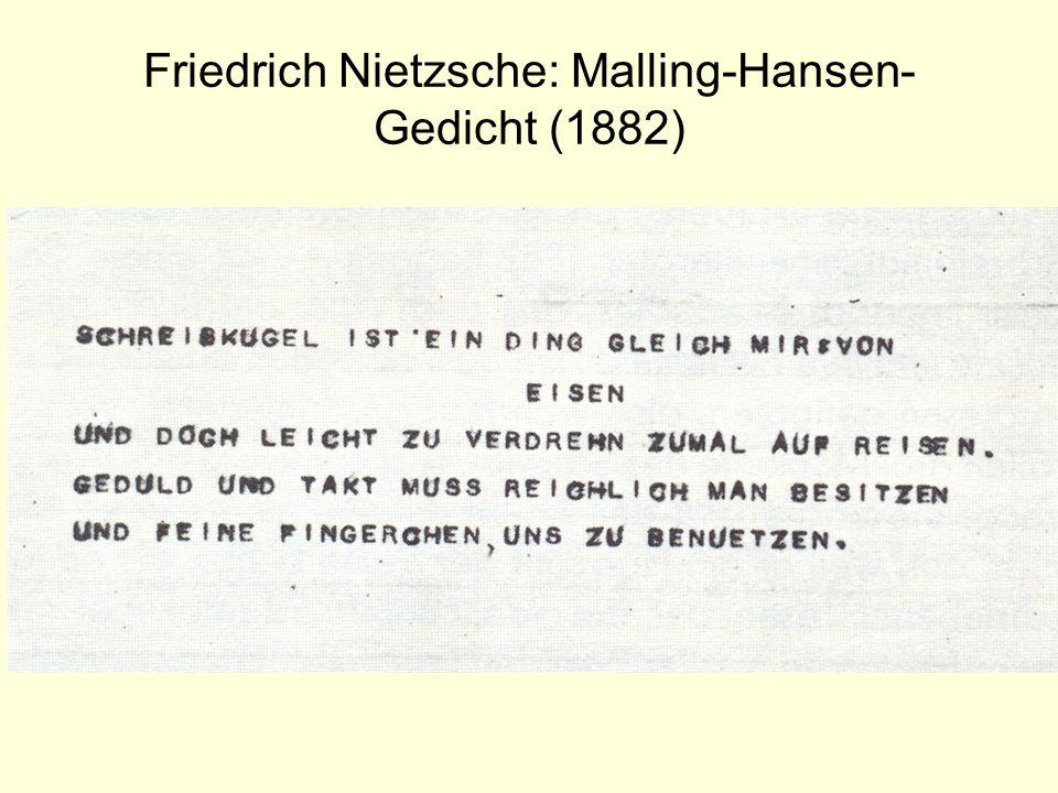 Friedrich Nietzsche: Malling-Hansen-Gedicht (1882)