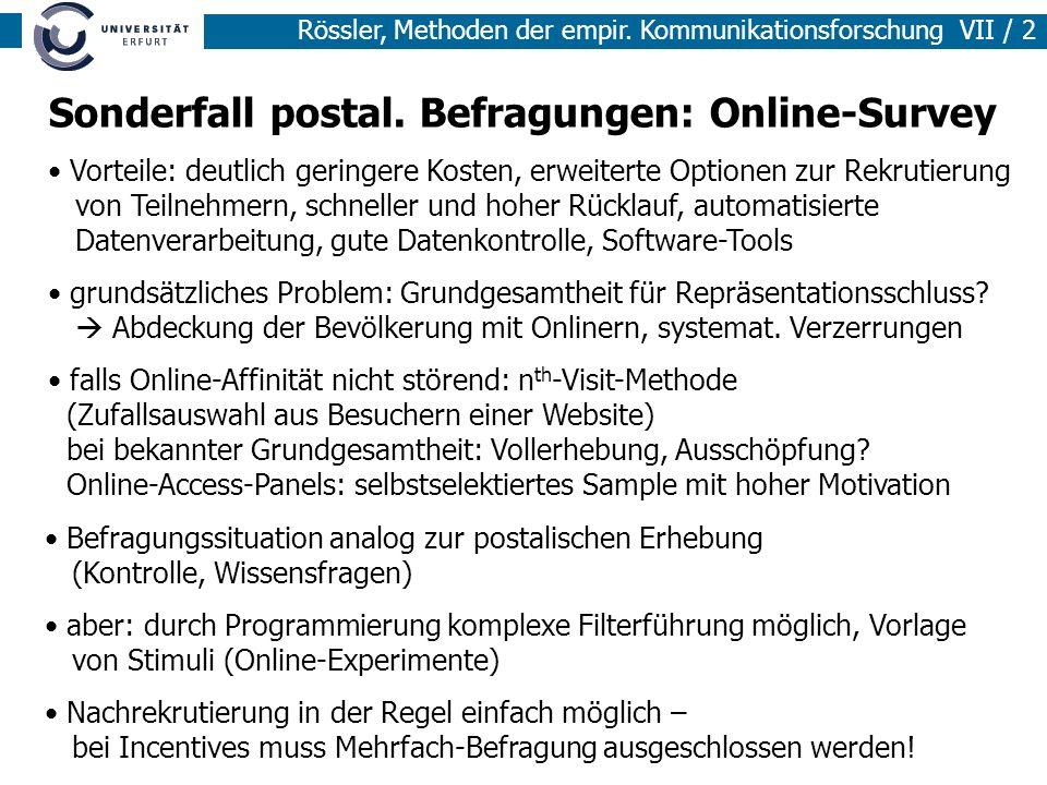 Sonderfall postal. Befragungen: Online-Survey