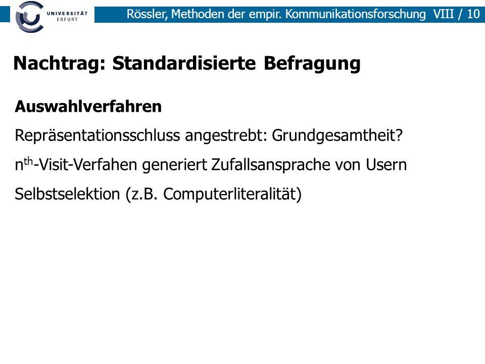 Nachtrag: Standardisierte Befragung