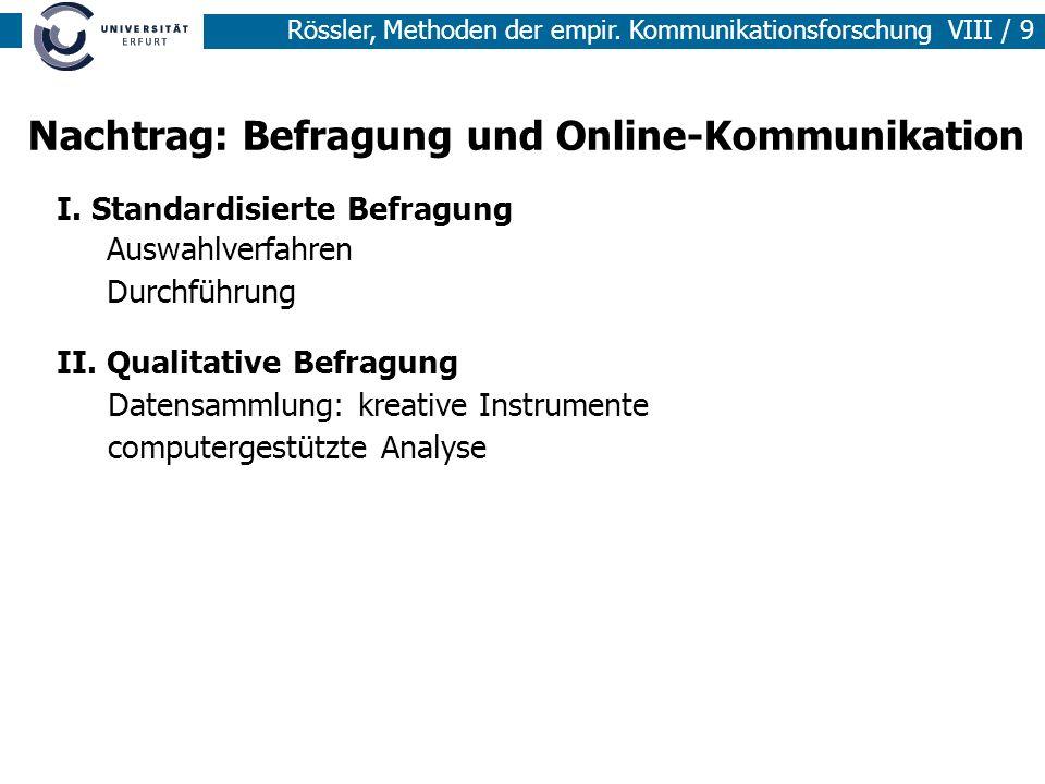 Nachtrag: Befragung und Online-Kommunikation