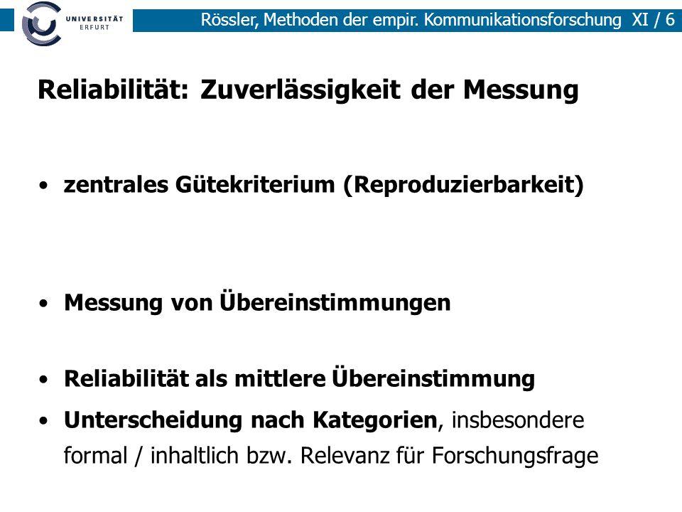 Reliabilität: Zuverlässigkeit der Messung