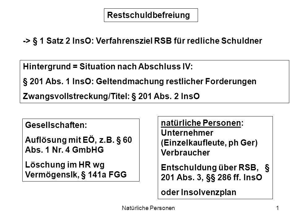 -> § 1 Satz 2 InsO: Verfahrensziel RSB für redliche Schuldner