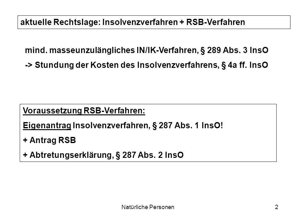 aktuelle Rechtslage: Insolvenzverfahren + RSB-Verfahren