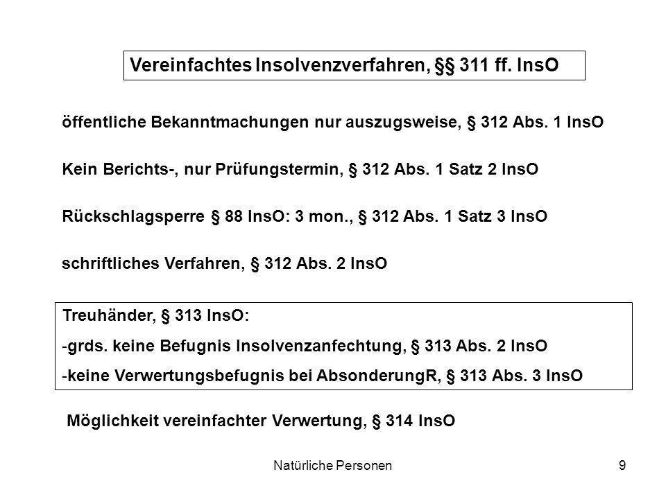 Vereinfachtes Insolvenzverfahren, §§ 311 ff. InsO