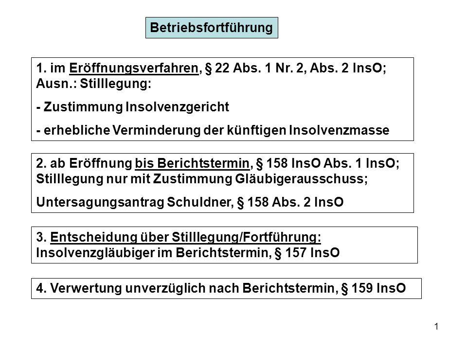 Betriebsfortführung 1. im Eröffnungsverfahren, § 22 Abs. 1 Nr. 2, Abs. 2 InsO; Ausn.: Stilllegung: - Zustimmung Insolvenzgericht.