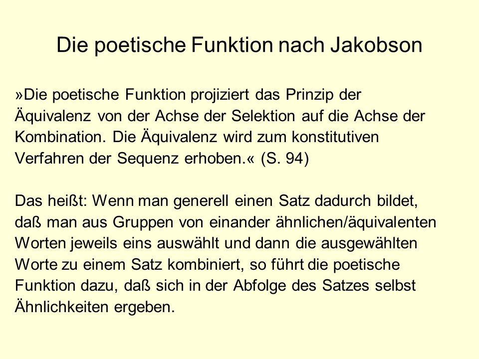 Die poetische Funktion nach Jakobson