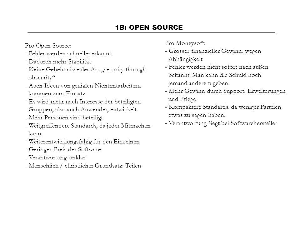 1B: OPEN SOURCE Pro Moneysoft: Grosser finanzieller Gewinn, wegen. Abhängigkeit. Fehler werden nicht sofort nach außen.