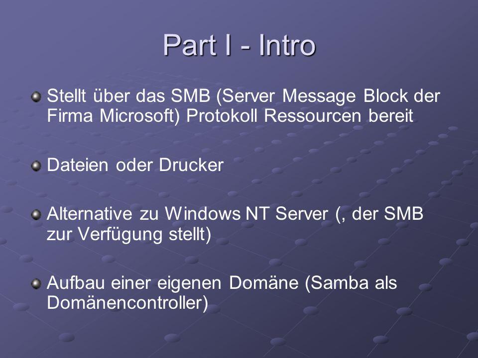 Part I - IntroStellt über das SMB (Server Message Block der Firma Microsoft) Protokoll Ressourcen bereit.