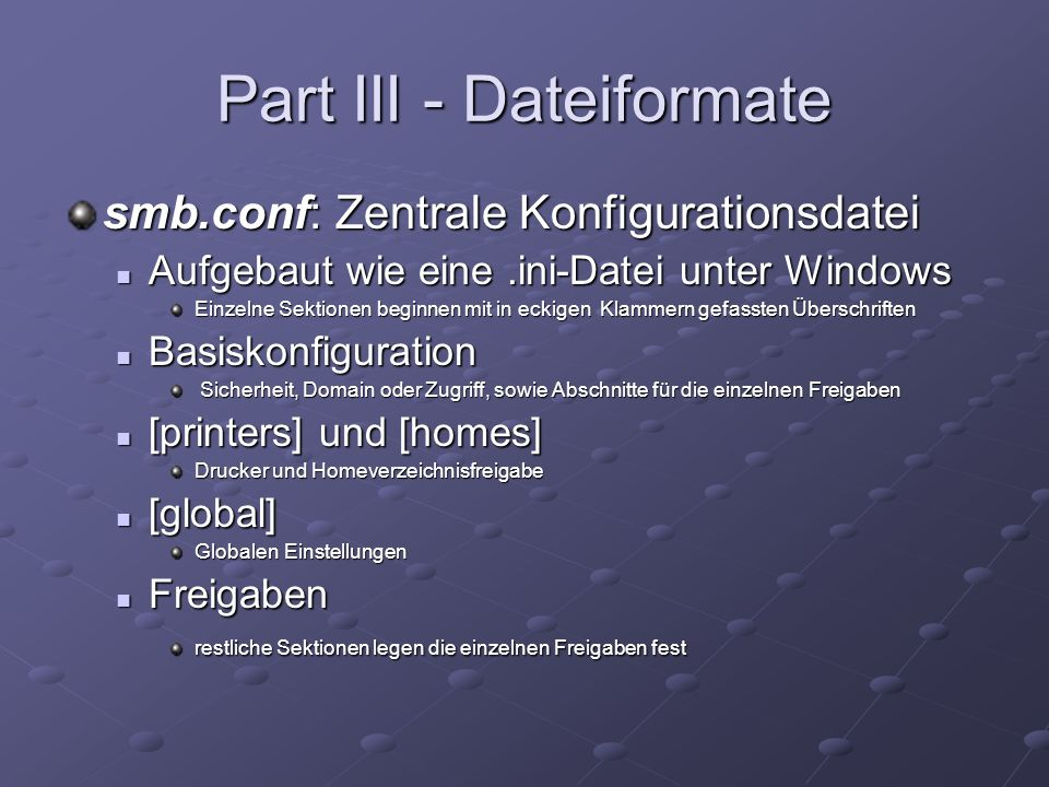 Part III - Dateiformate
