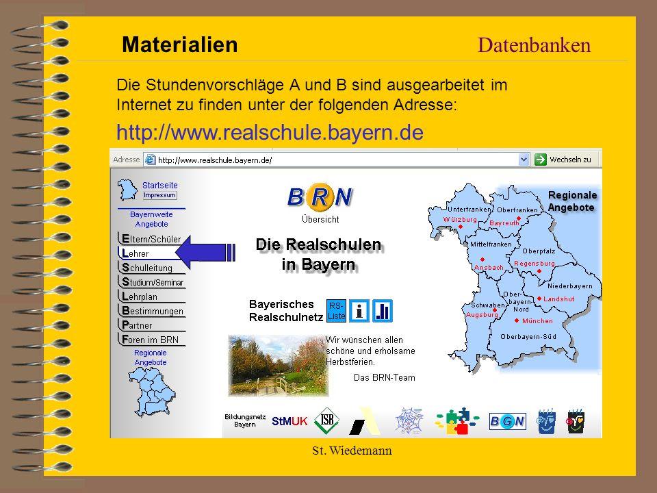 Materialien Datenbanken http://www.realschule.bayern.de