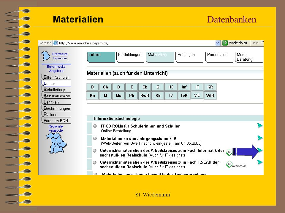 Materialien Datenbanken St. Wiedemann