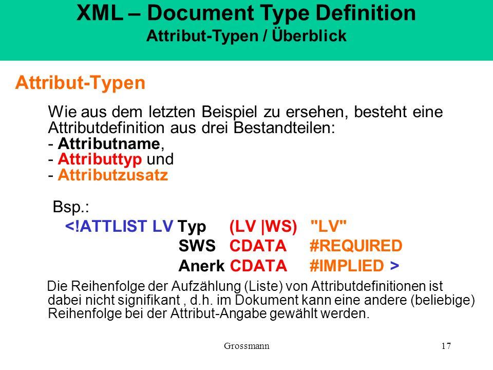 XML – Document Type Definition Attribut-Typen / Überblick