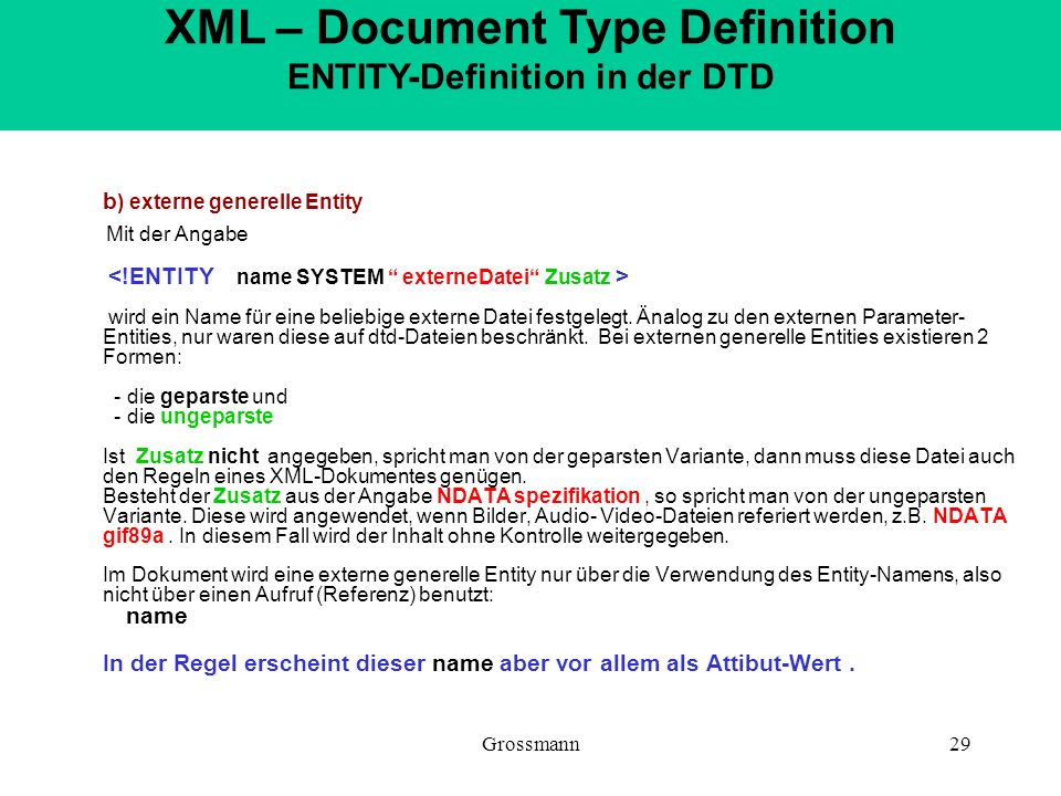 XML – Document Type Definition ENTITY-Definition in der DTD