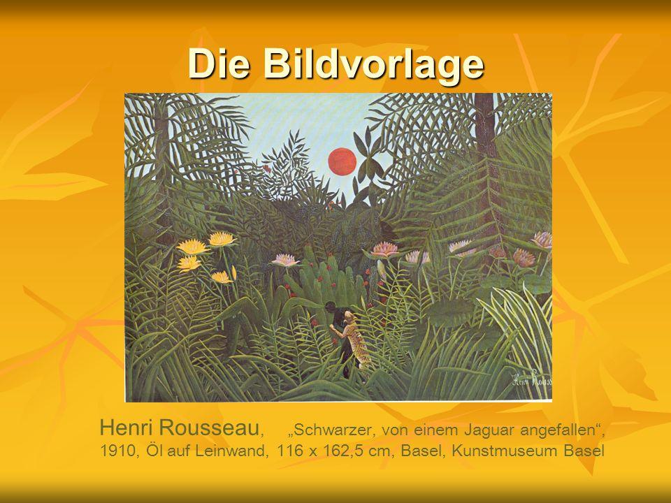 """Die Bildvorlage Henri Rousseau, """"Schwarzer, von einem Jaguar angefallen , 1910, Öl auf Leinwand, 116 x 162,5 cm, Basel, Kunstmuseum Basel."""