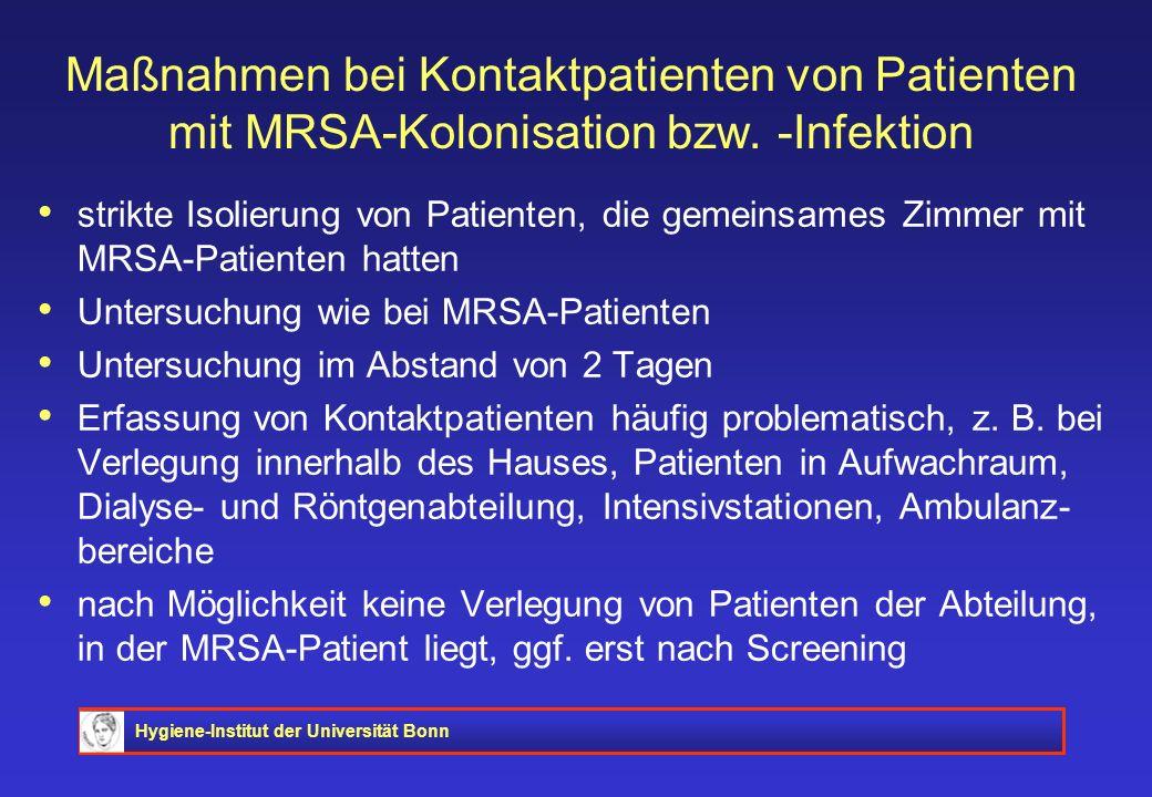 Maßnahmen bei Kontaktpatienten von Patienten mit MRSA-Kolonisation bzw