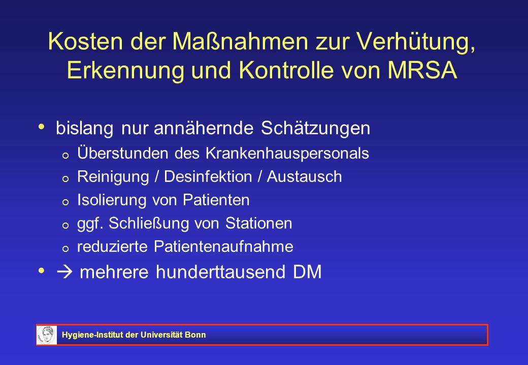 Kosten der Maßnahmen zur Verhütung, Erkennung und Kontrolle von MRSA