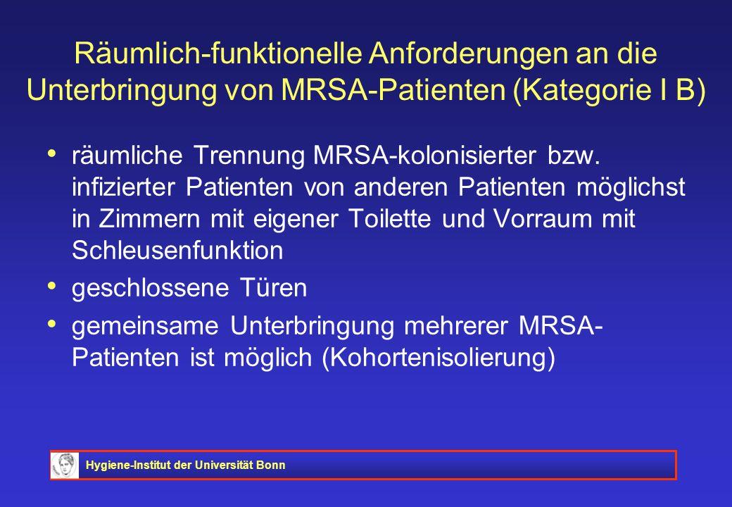 Räumlich-funktionelle Anforderungen an die Unterbringung von MRSA-Patienten (Kategorie I B)