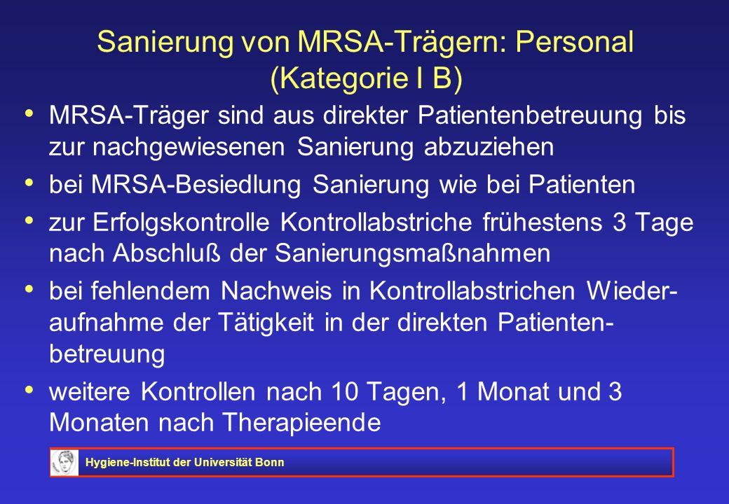 Sanierung von MRSA-Trägern: Personal (Kategorie I B)