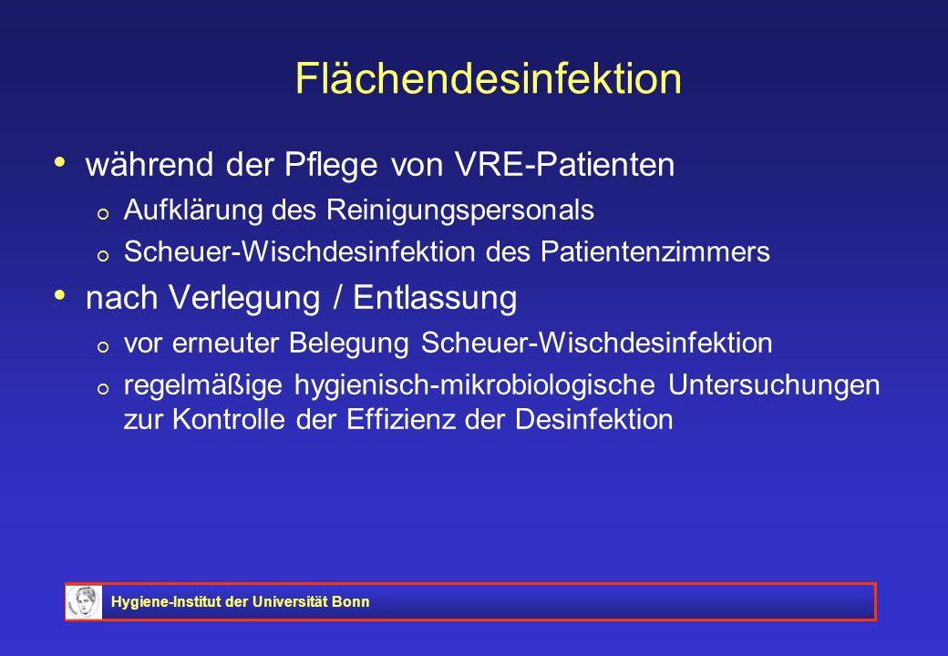 Flächendesinfektion während der Pflege von VRE-Patienten