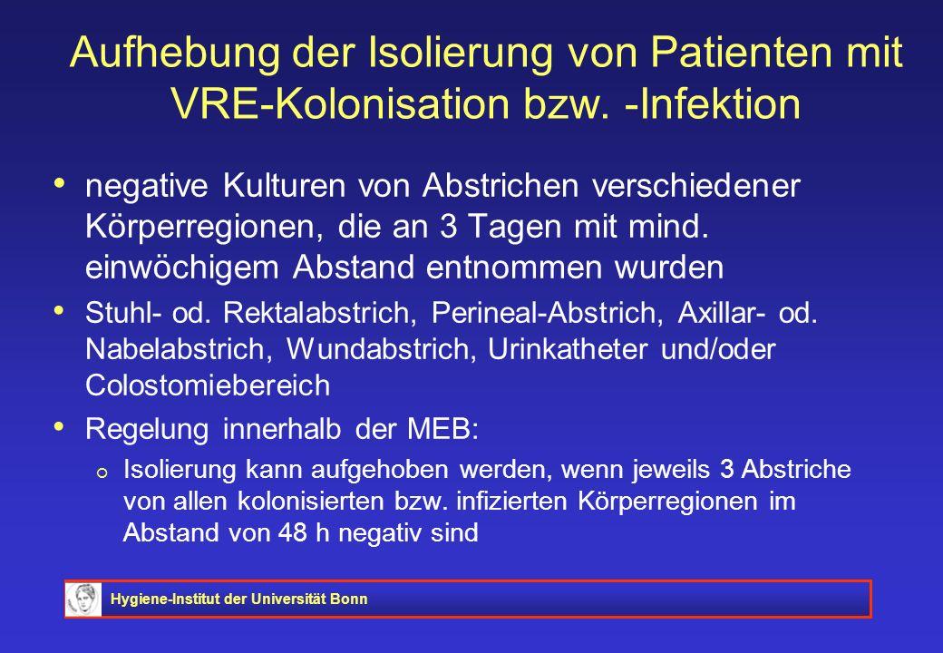 Aufhebung der Isolierung von Patienten mit VRE-Kolonisation bzw