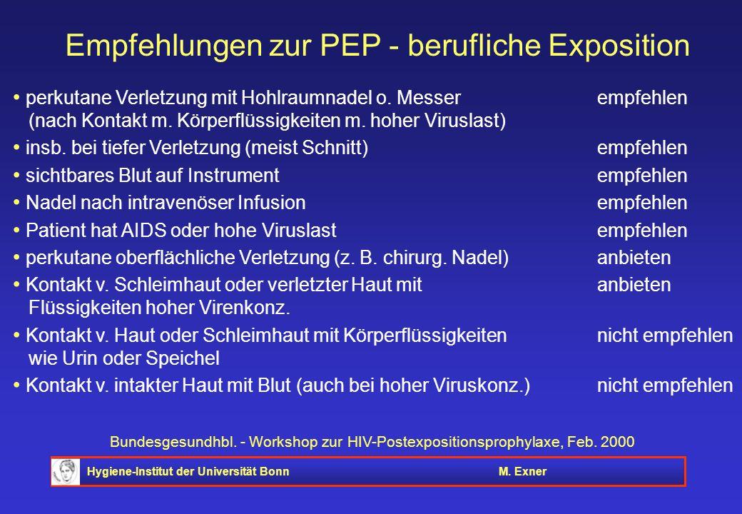 Empfehlungen zur PEP - berufliche Exposition