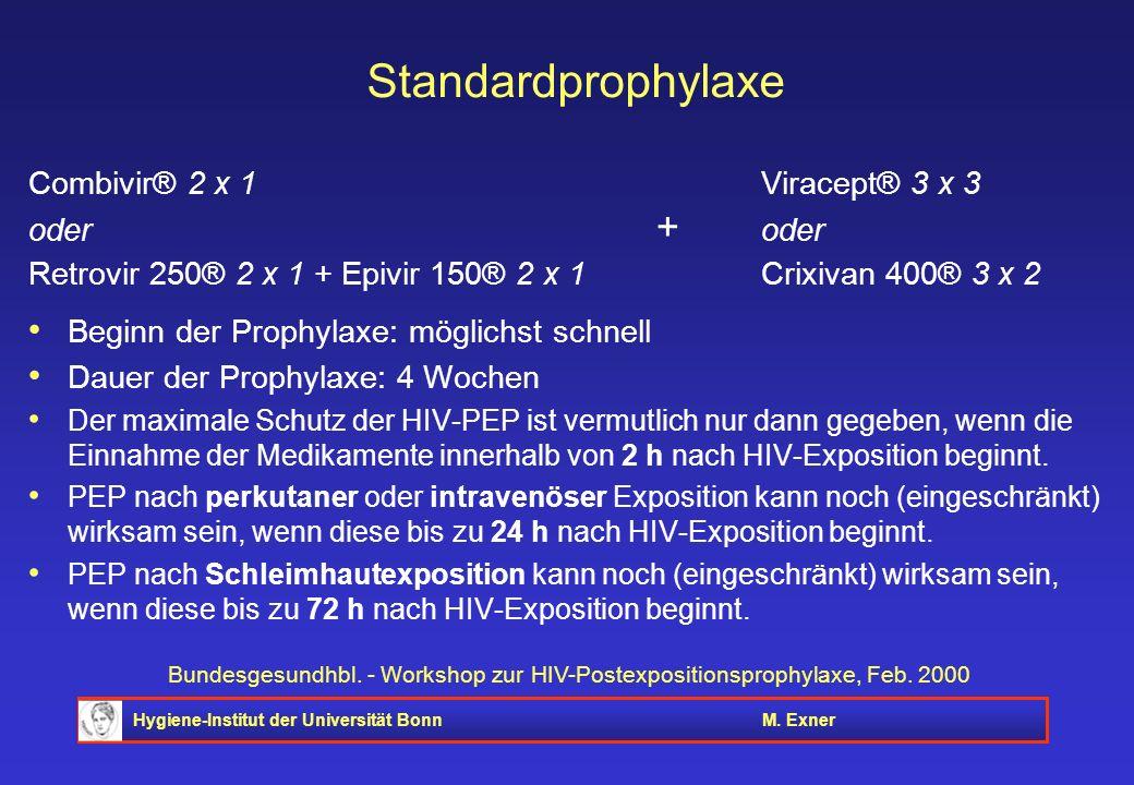 Standardprophylaxe Combivir® 2 x 1 Viracept® 3 x 3 oder + oder