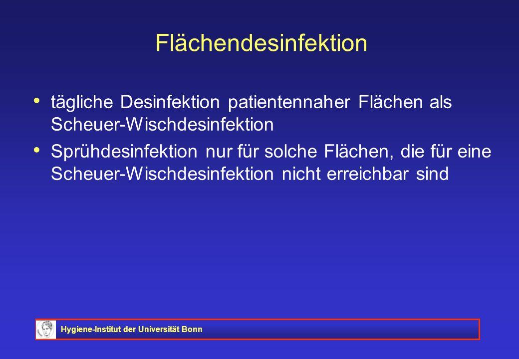 Flächendesinfektion tägliche Desinfektion patientennaher Flächen als Scheuer-Wischdesinfektion.