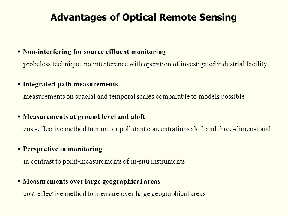 Advantages of Optical Remote Sensing