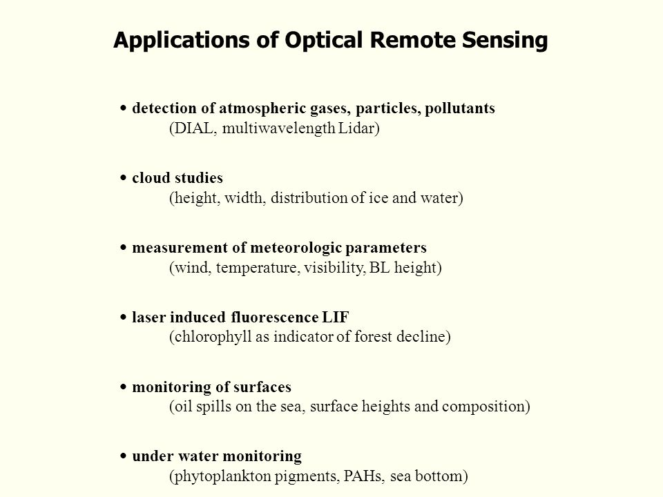 Applications of Optical Remote Sensing