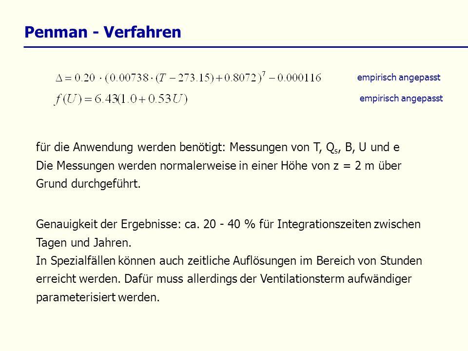 Penman - Verfahrenempirisch angepasst. empirisch angepasst. für die Anwendung werden benötigt: Messungen von T, Qs, B, U und e.