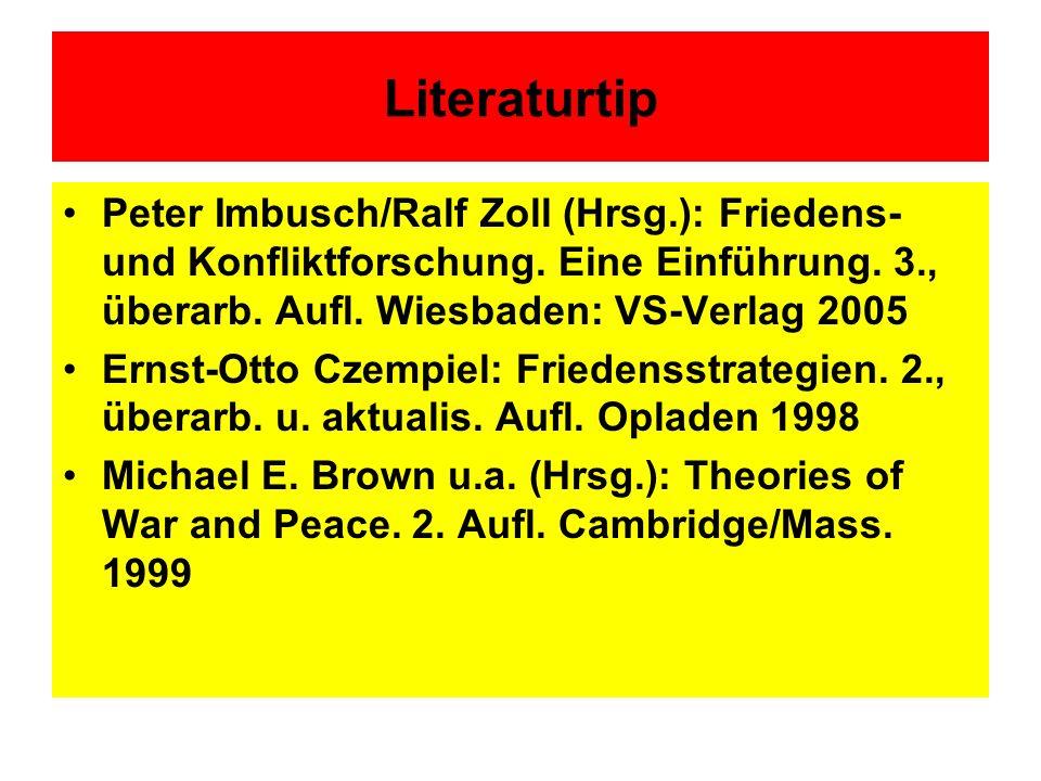 Literaturtip Peter Imbusch/Ralf Zoll (Hrsg.): Friedens- und Konfliktforschung. Eine Einführung. 3., überarb. Aufl. Wiesbaden: VS-Verlag 2005.