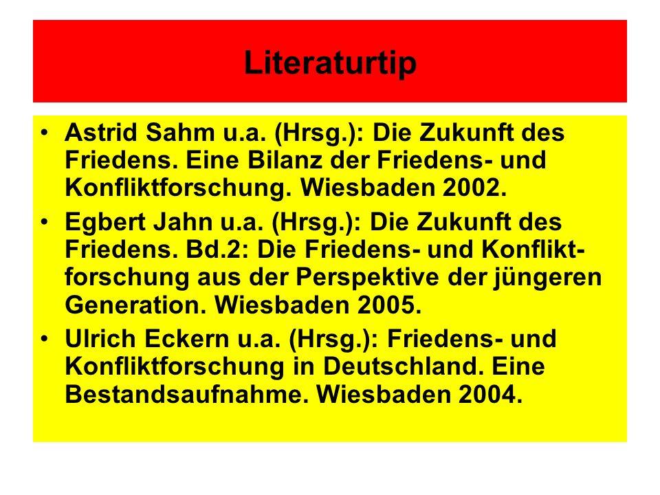 Literaturtip Astrid Sahm u.a. (Hrsg.): Die Zukunft des Friedens. Eine Bilanz der Friedens- und Konfliktforschung. Wiesbaden 2002.