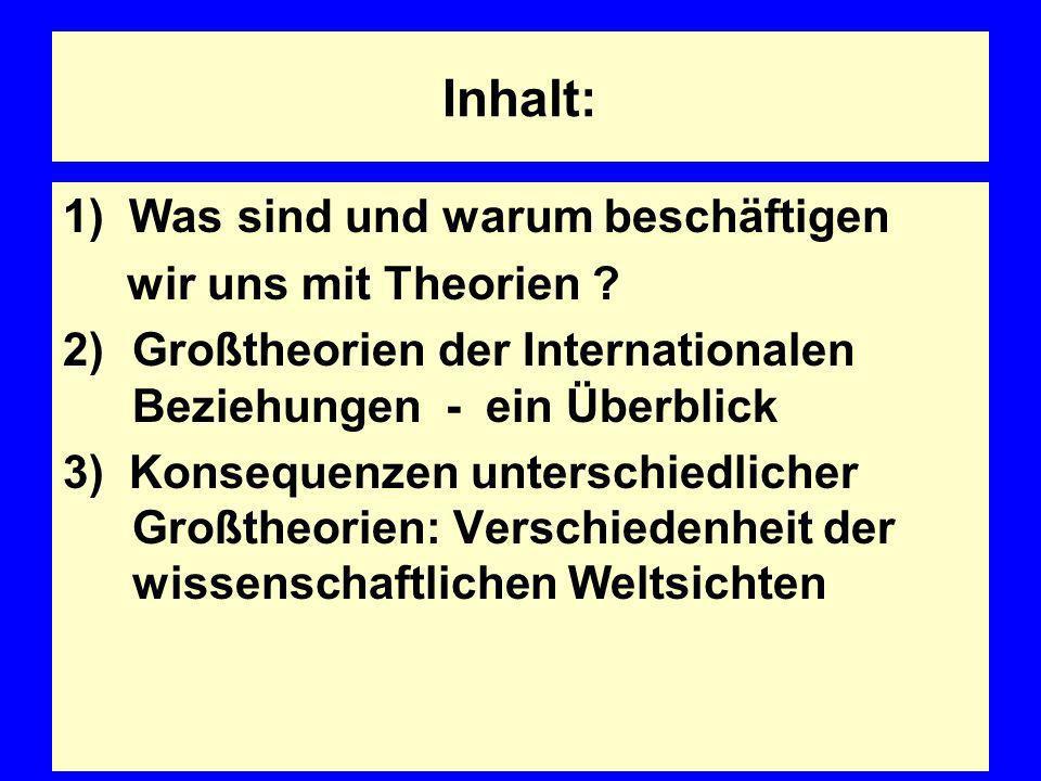 Inhalt: 1) Was sind und warum beschäftigen wir uns mit Theorien