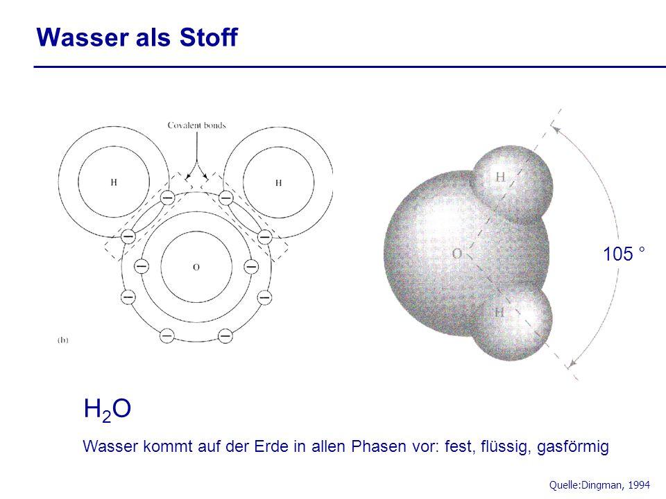 Wasser als Stoff 105 ° H2O. Wasser kommt auf der Erde in allen Phasen vor: fest, flüssig, gasförmig.