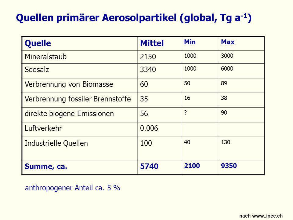 Quellen primärer Aerosolpartikel (global, Tg a-1)