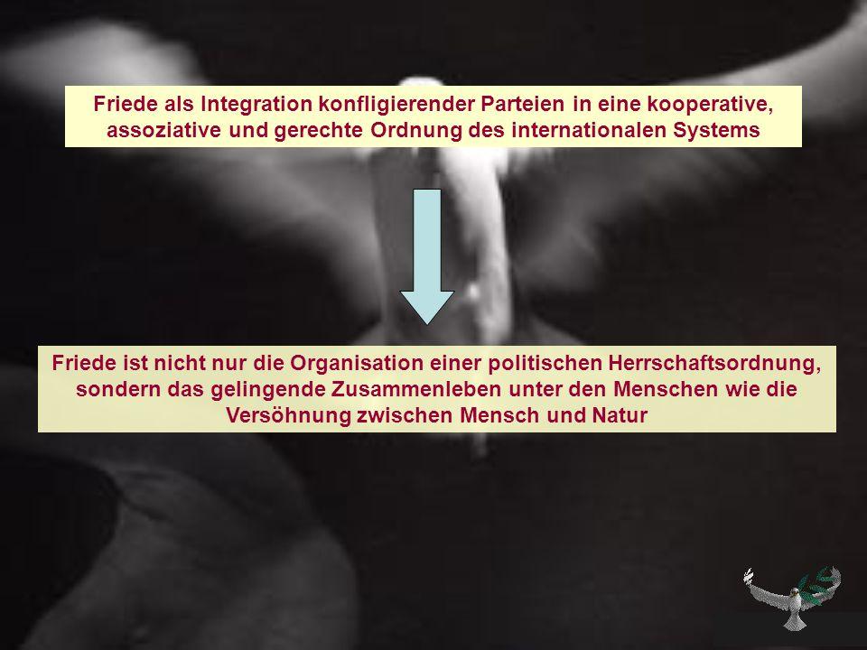Friede als Integration konfligierender Parteien in eine kooperative, assoziative und gerechte Ordnung des internationalen Systems